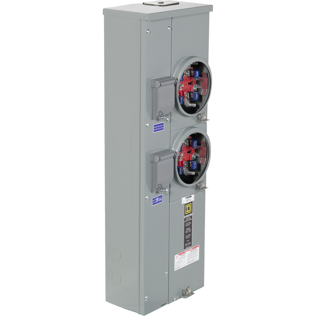 Mayer-MP Meter Pak, meter center, two ringless sockets, horn bypass, 5th jaw, 200 A bus, 125 A, 240 VAC single phase 3W-1