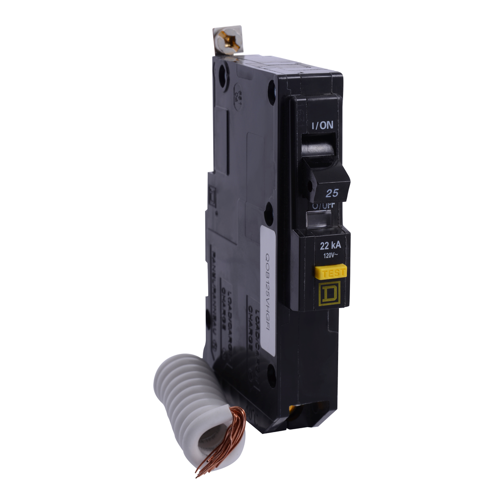 Mayer-Mini circuit breaker, QO, 25A, 1 pole, 120 VAC, 22 kA, 6mA grd fault A, pigtail, bolt on mount-1