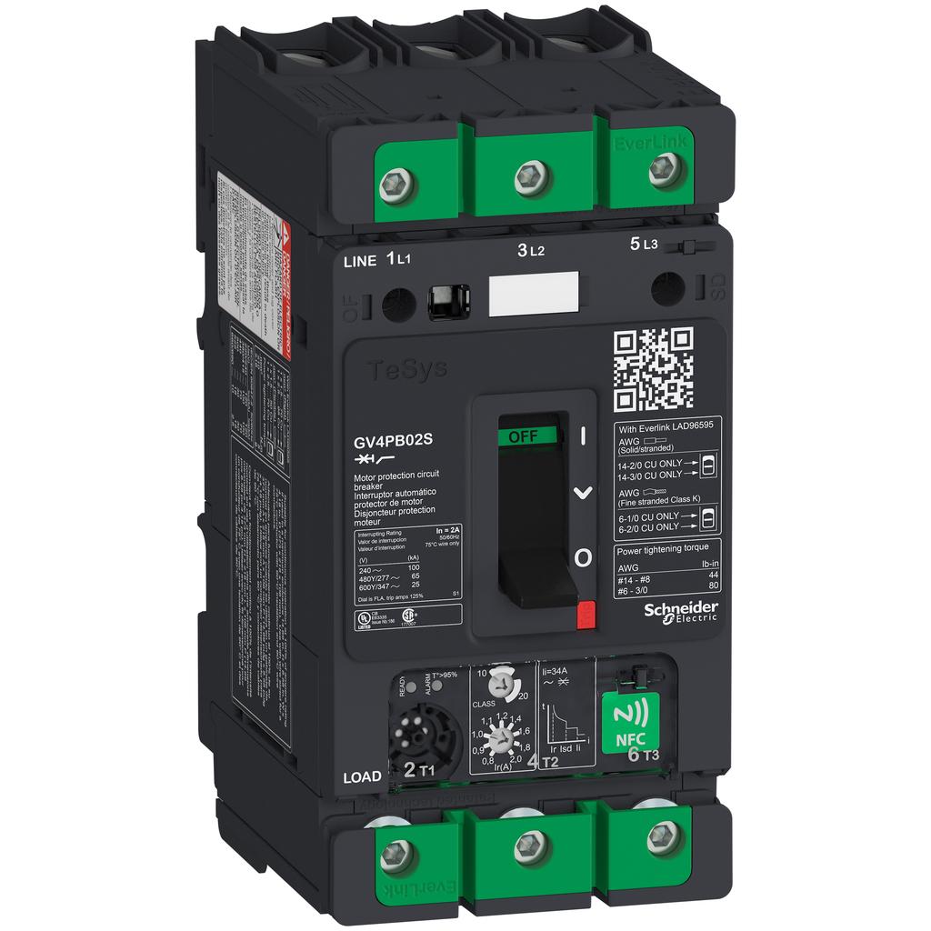 Mayer-Motor circuit breaker, TeSys GV4, 3P, 2A, Icu 100kA, thermal magnetic, multifunction, UL489-1