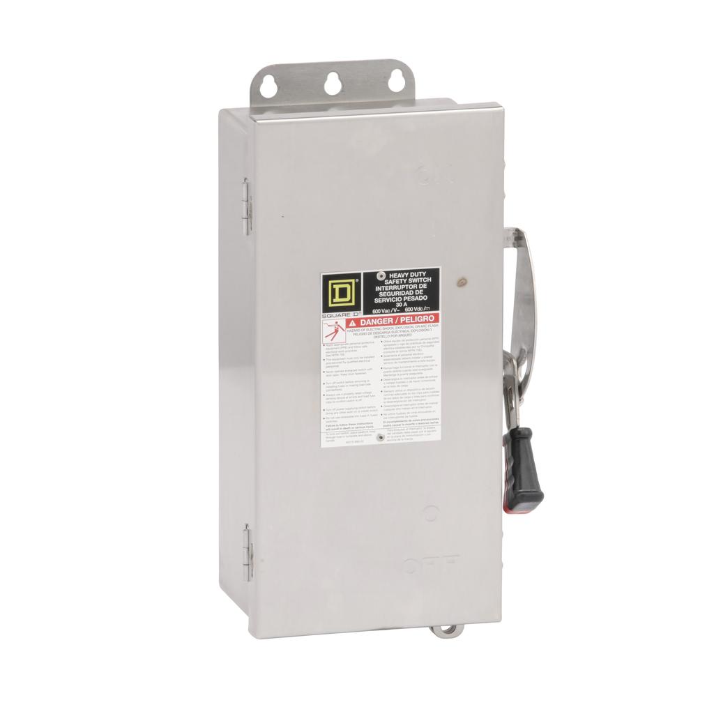 Mayer-Safety switch, heavy duty, non fusible, 30A, 3 poles, 30 hp, 600 VAC/DC, NEMA 4, 4X, 5, 304 steel-1