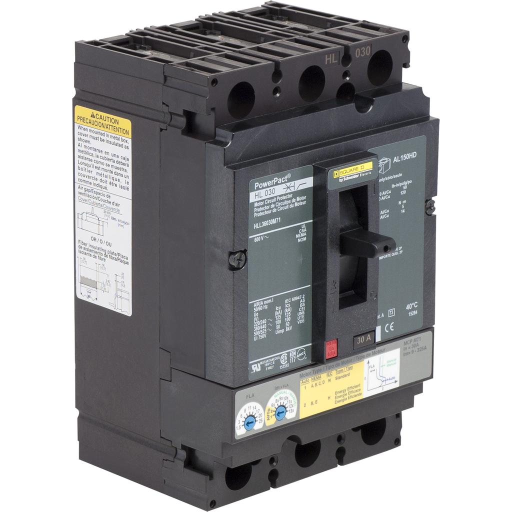 Mayer-Motor circuit protector, PowerPacT H, unit mount, 30A, 3 pole,50 kA, 600 VAC, 80% rated-1