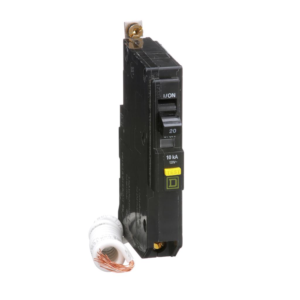 Mayer-Mini circuit breaker, QO, 20A, 1 pole, 120 VAC, 10 kA, 6mA grd fault A, pigtail, bolt on mount-1