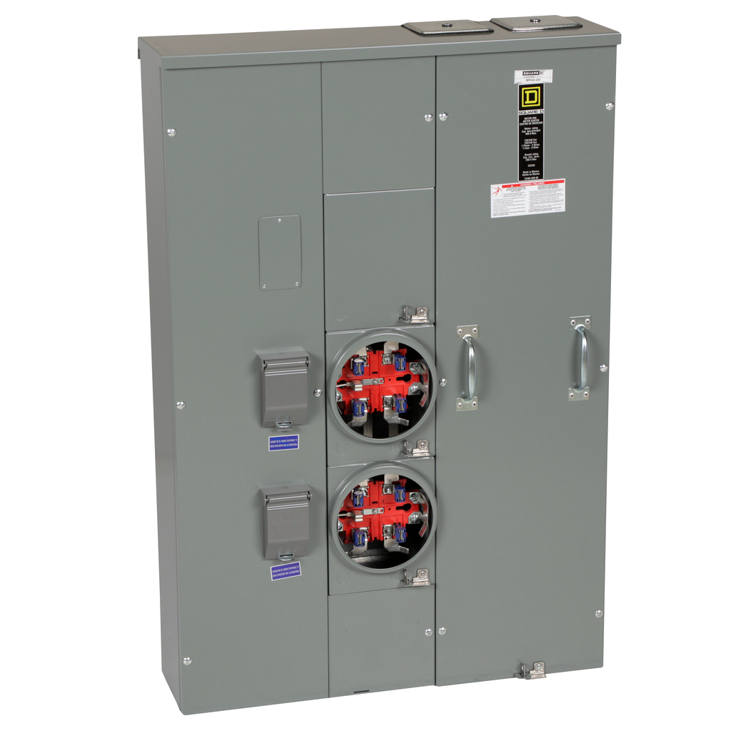 Mayer-MP Meter Pak, meter center, two ringless sockets, horn bypass, 5th jaw, 400 A bus, 200 A, 240 VAC single phase 3W-1