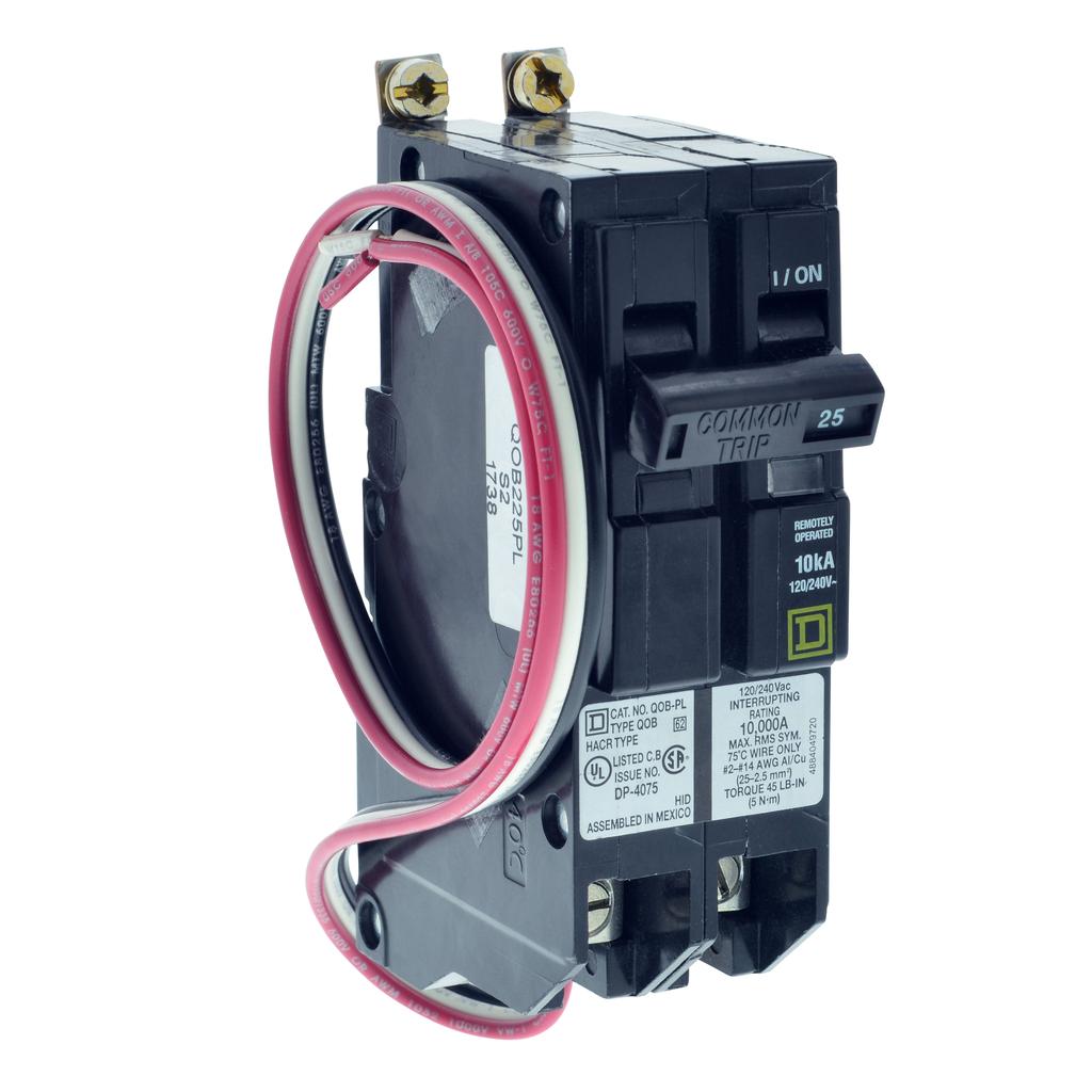 Mayer-Mini circuit breaker, QO, 30A, 2 pole, 120/240 VAC, 10 kA, Powerlink, bolt on mount, 60 in leads-1
