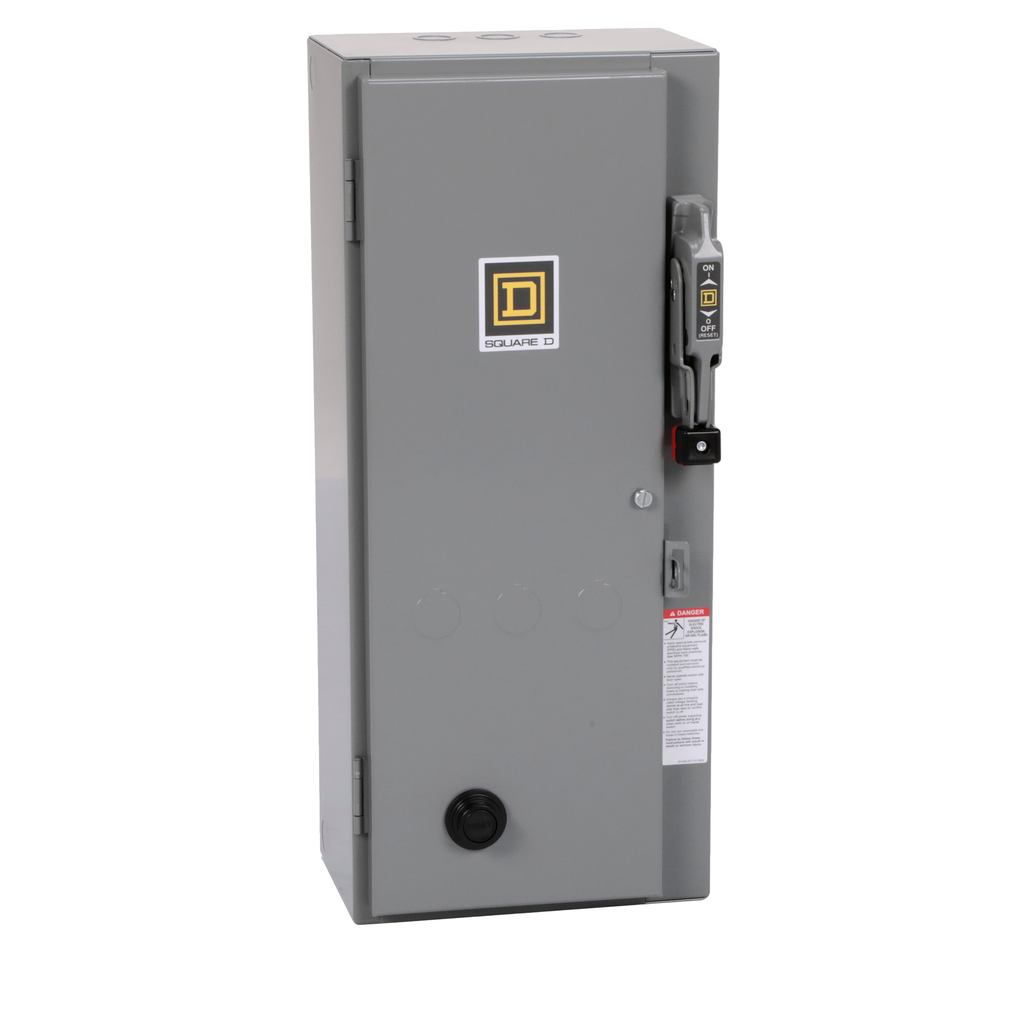 Mayer-NEMA Combination Starter, Type S, nonfusible disconnect, Size 0, 18A, 5 HP at 600 VAC polyphase, 120 VAC coil, NEMA 1-1