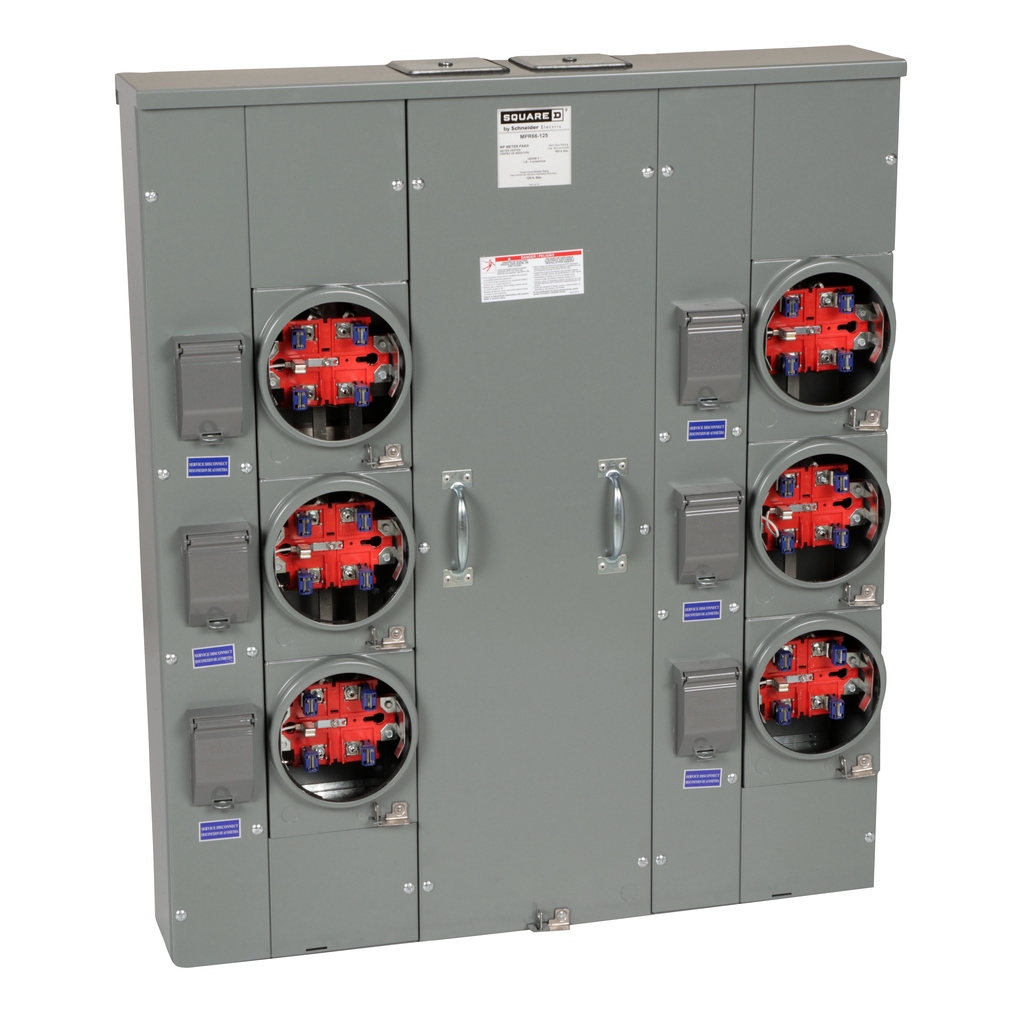 Mayer-MP Meter Pak, meter center, six ringless sockets, no bypass, 5th jaw, OH, UG, 600 A bus, 125 A, 240 VAC single phase 3W-1