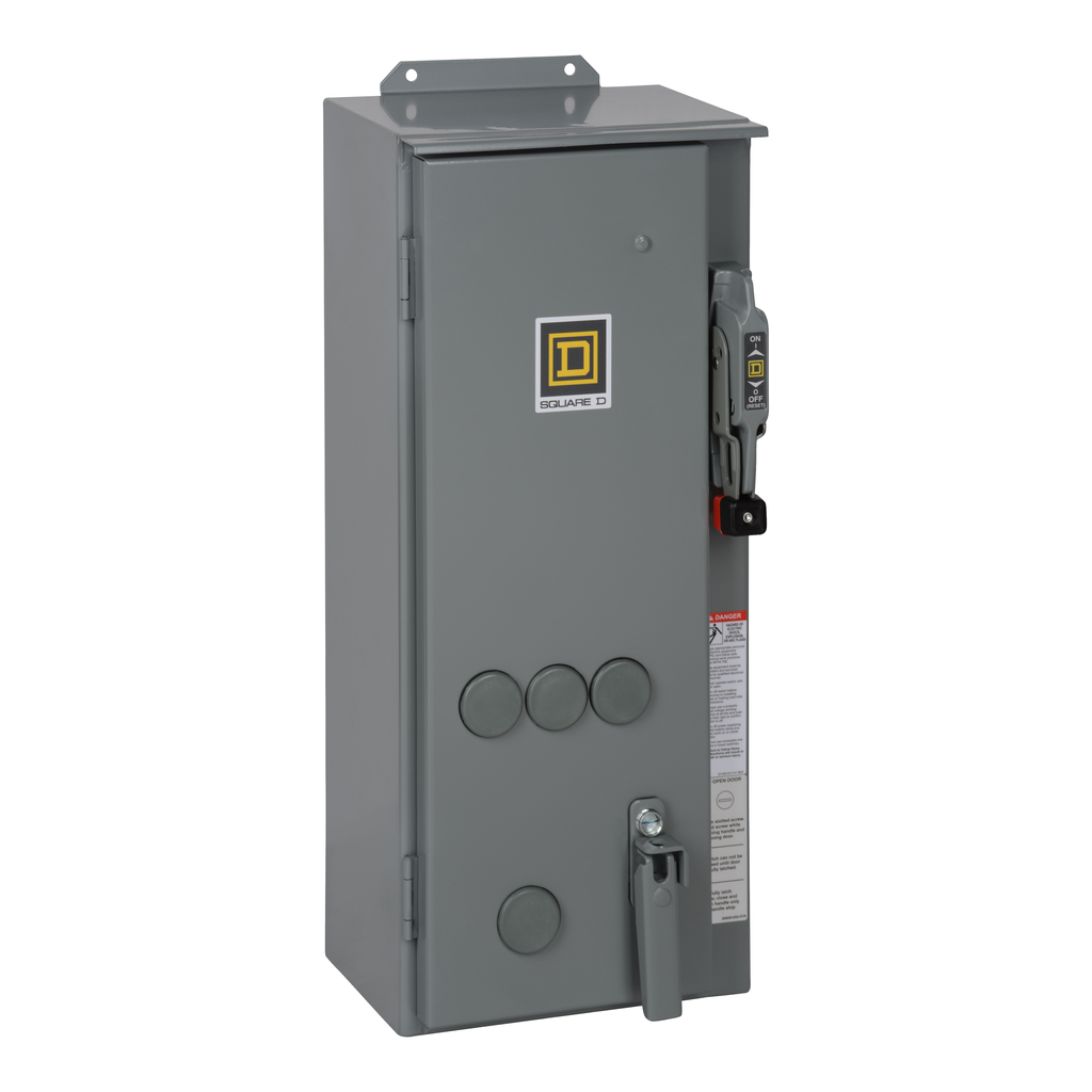 Mayer-NEMA Combination Starter, Type S, nonfusible disconnect, Size 1, 27A, 10 HP at 600 VAC polyphase, 24 VAC coil, NEMA 12-1