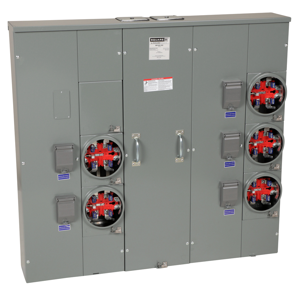 Mayer-MP Meter Pak, meter center, five ringless sockets, horn bypass, 5th jaw, 800 A bus, 200 A, 240 VAC single phase 3W-1