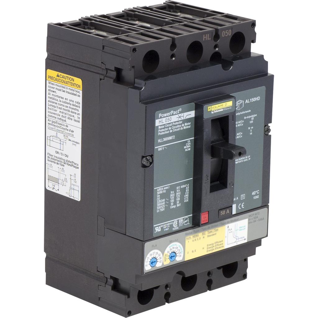Mayer-Motor circuit protector, PowerPacT H, unit mount, 50A, 3 pole,50 kA, 600 VAC, 80% rated-1