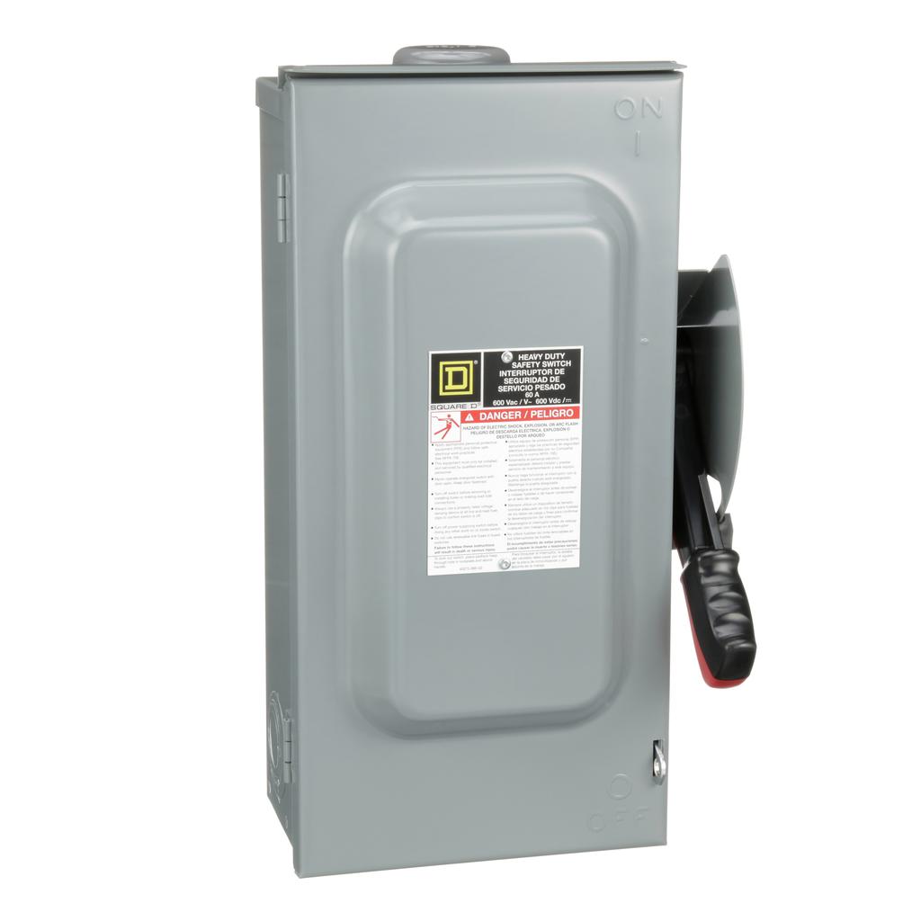 Mayer-Safety switch, heavy duty, fusible, 60A, 3 poles, 50 hp, 600 VAC/DC, NEMA 3R, bolt-on hub,-1