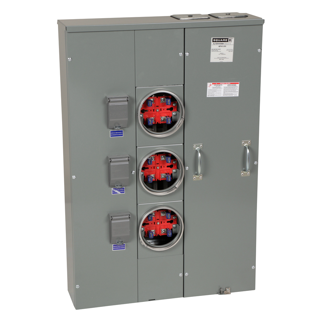 Mayer-MP Meter Pak, meter center, three ringed sockets, no bypass, 4 jaws, OH, UG, 400 A bus, 200 A, 240 VAC single phase 3W-1
