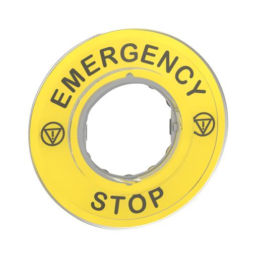 Mayer-Harmony XB4, Legend holder Ø60 for emergency stop, plastic, yellow, marked EMERGENCY STOP-1