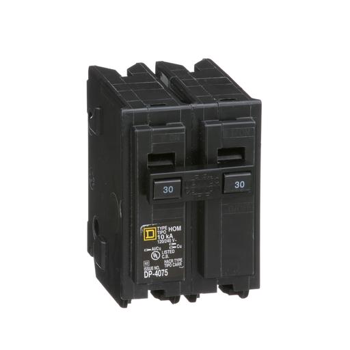 Mayer-Mini circuit breaker, Homeline, 30A, 2 pole, 120/240 VAC, 10 kA AIR, standard type, plug in mount-1