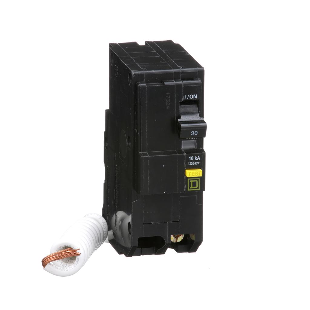 Mayer-Mini circuit breaker, QO, 30A, 2 pole, 120/240 VAC, 10 kA, 6mA grd fault A, pigtail, plug in mount-1