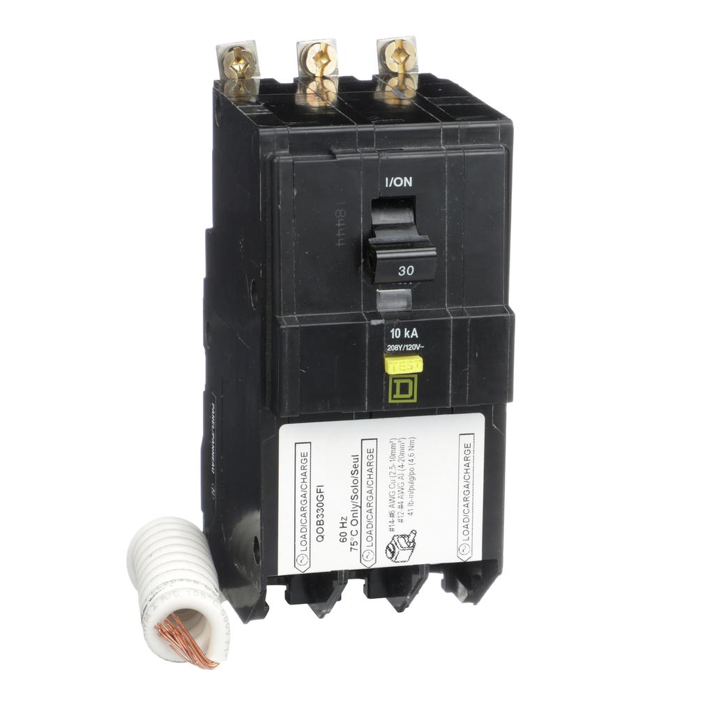 Mayer-Mini circuit breaker, QO, 30A, 3 pole, 208Y/120 VAC, 10 kA, 6mA grd fault A, pigtail, bolt on mount-1