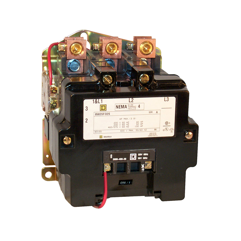 Mayer-NEMA Contactor, Type S, nonreversing, Size 4, 135A, 100 HP at 575 VAC, 3 phase, up to 100 kA, 4 pole, 120 VAC coil, open-1