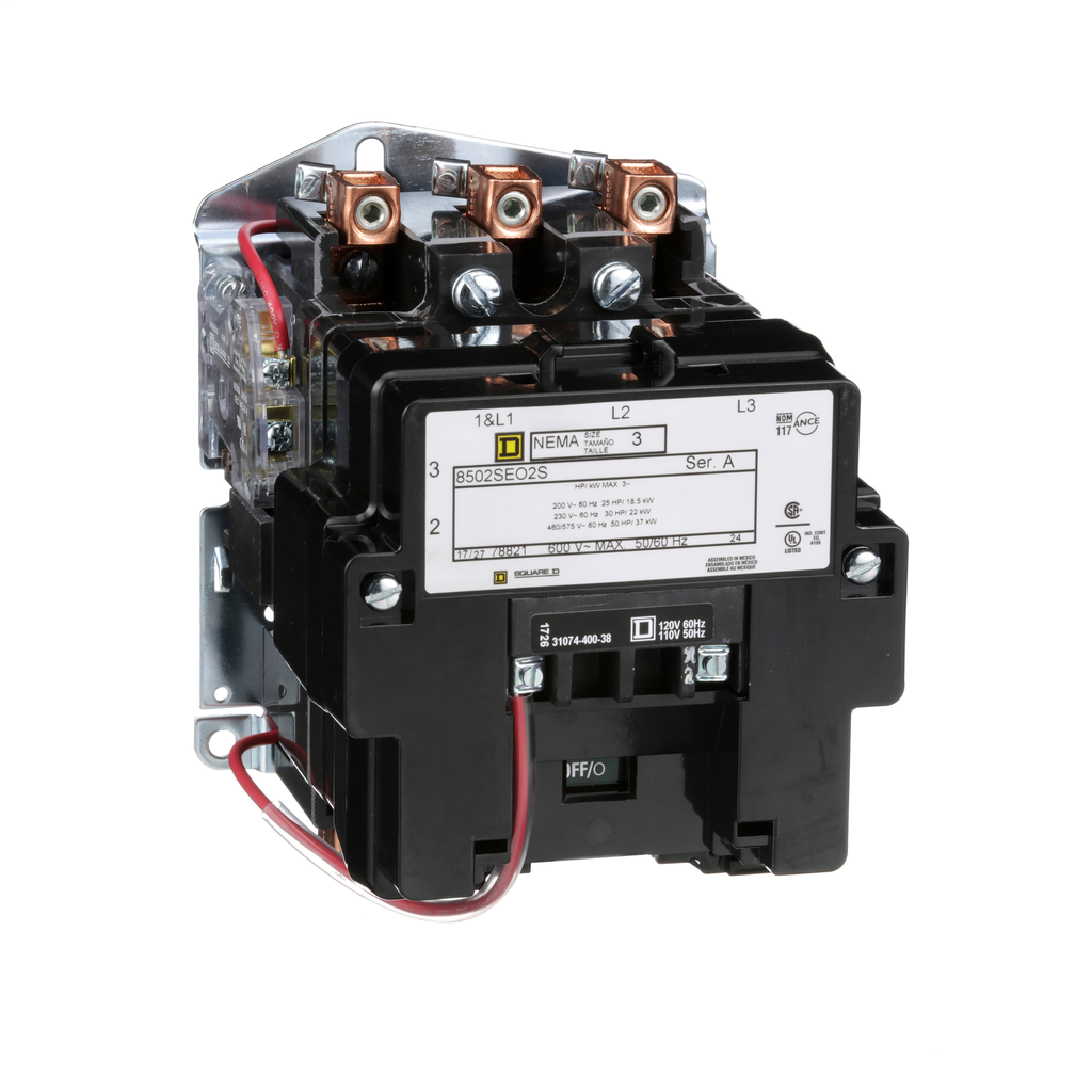Mayer-NEMA Contactor, Type S, nonreversing, Size 3, 90A, 50 HP at 575 VAC, 3 phase, up to 100 kA, 3 pole, 120 VAC coil, open-1