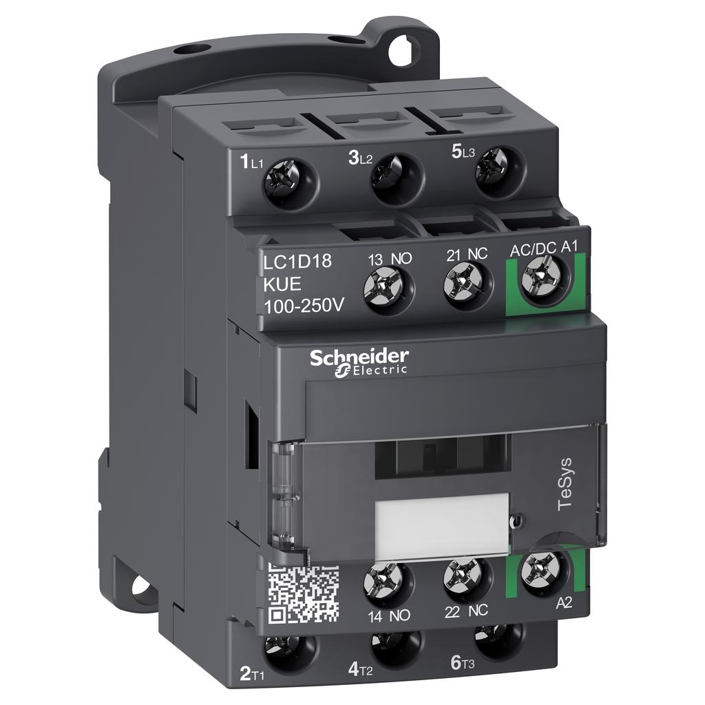 Mayer-IEC contactor, TeSys D Green, nonreversing, 18A, 10HP at 480VAC, up to 100kA SCCR, 3 phase, 3 NO, 100/250VAC/VDC coil-1