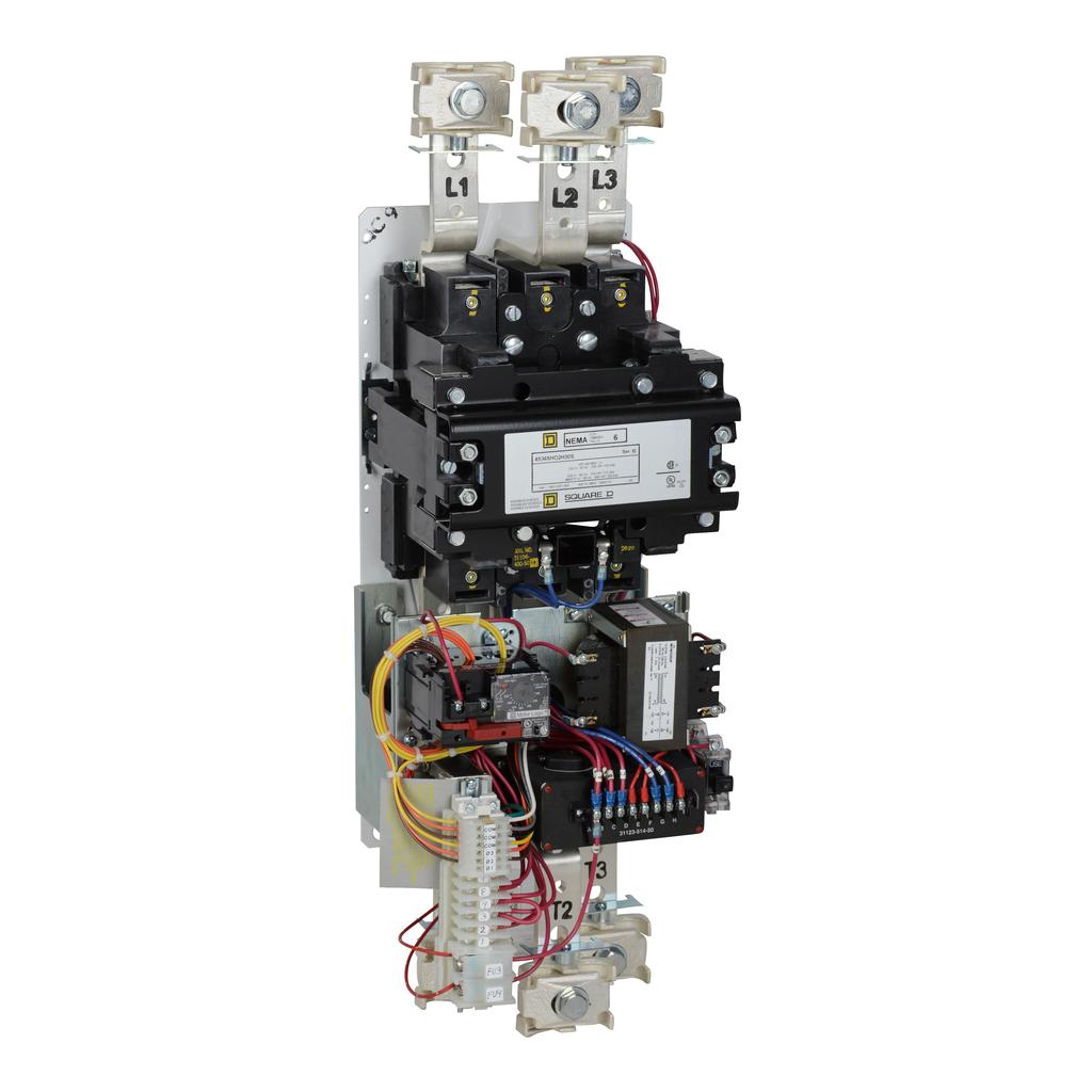 Mayer-NEMA Motor Starter, Type S, nonreversing, Size 6, 540A, 400 HP at 460 VAC, up to 100 kA SCCR, 3 phase, 3 pole, Motor Logic, 120 VAC coil, open-1
