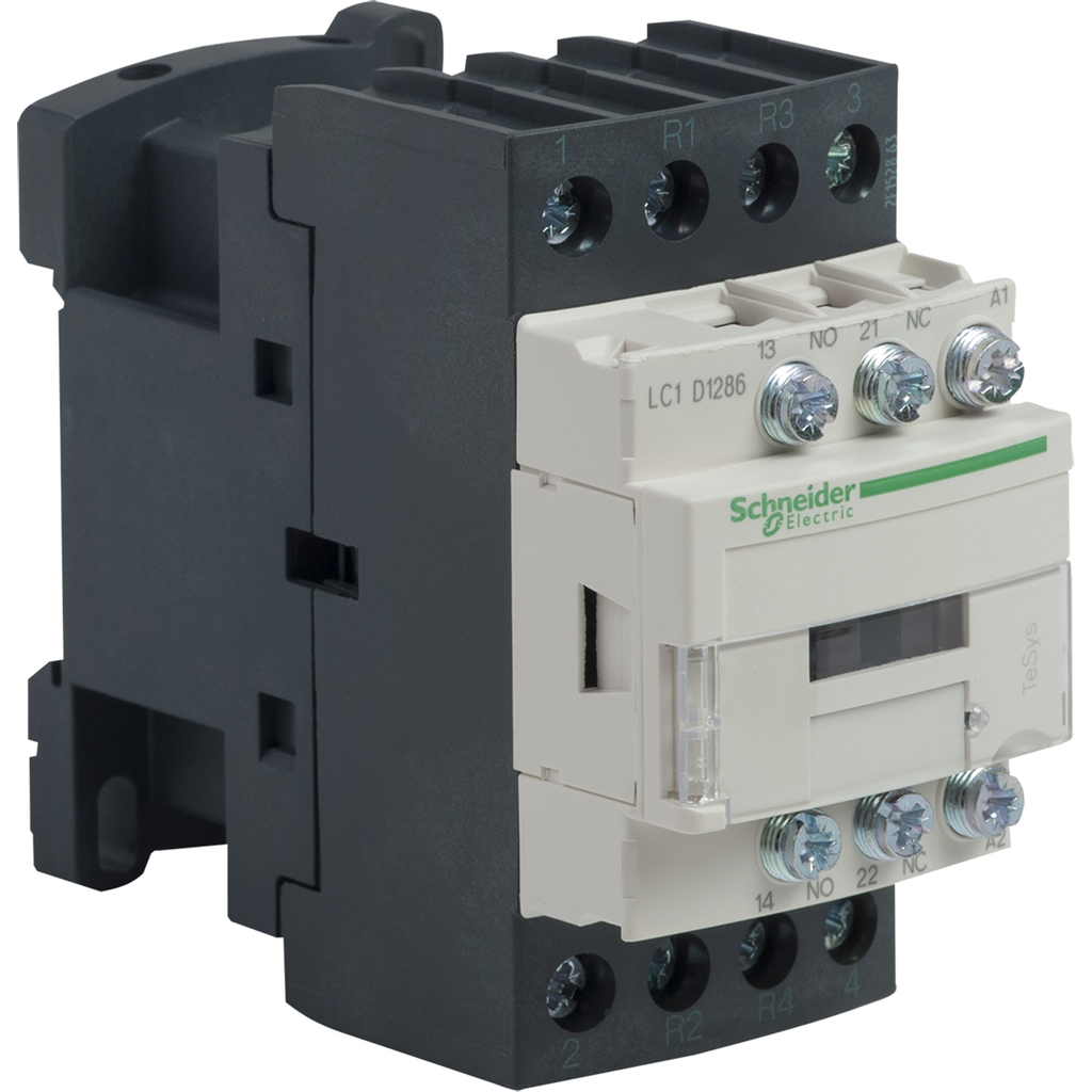 Mayer-IEC contactor, TeSys D, nonreversing, 25A resistive, 4 pole, 2 NO and 2 NC, 120VAC 50./60Hz coil, open style-1