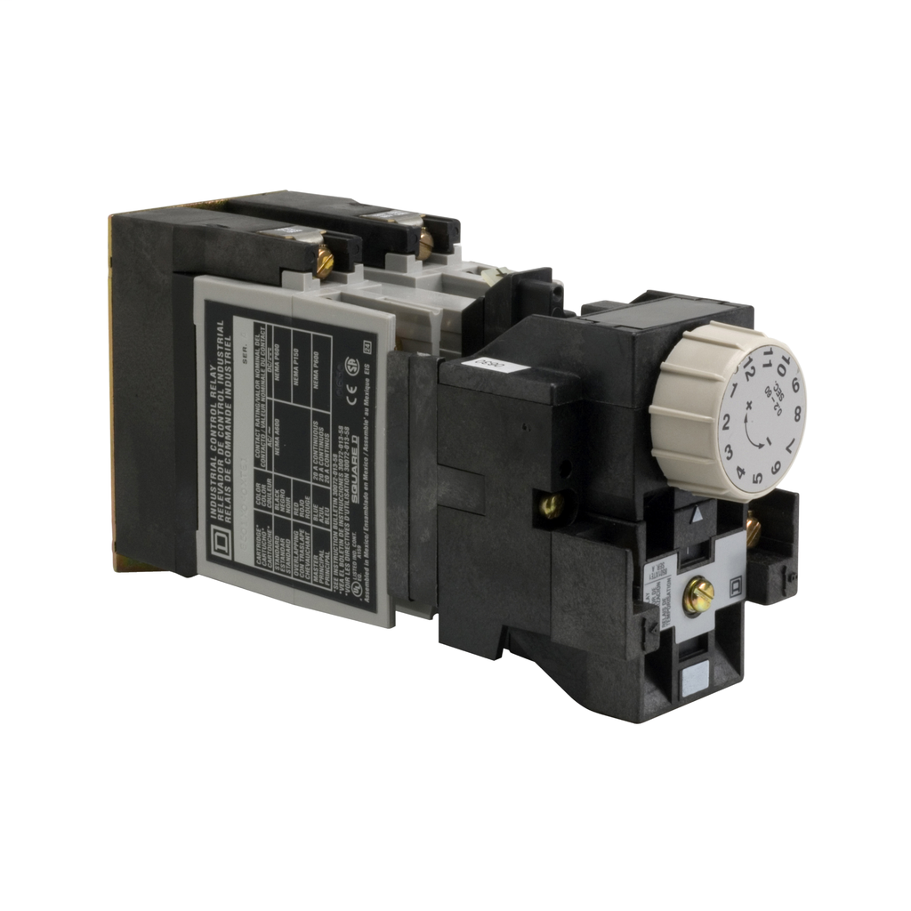 Mayer-NEMA Control Relay, Type X, timing, 1 minute on delay, 10A resistive at 600 VAC, 2 normally open, 120 VAC 60 Hz coil-1