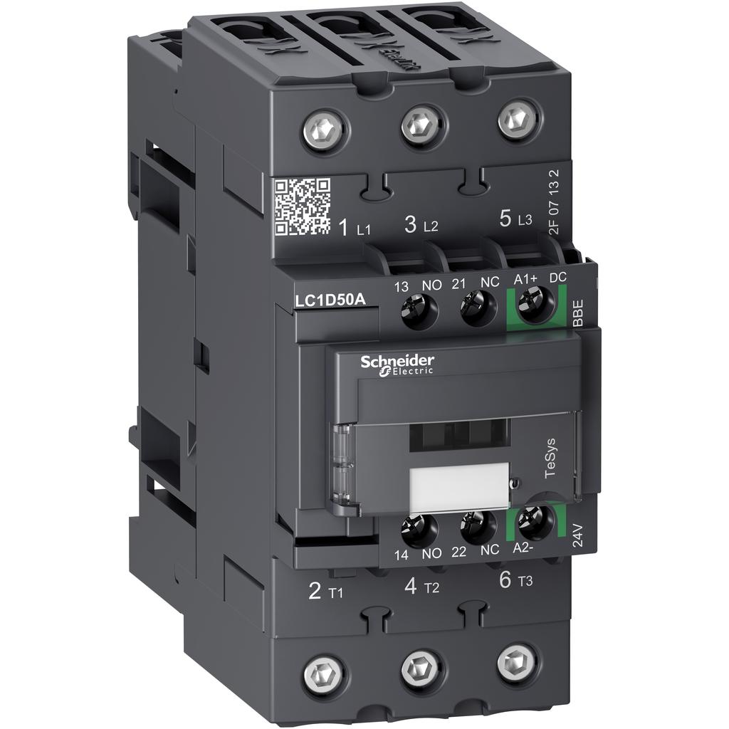 Mayer-IEC contactor, TeSys D Green, nonreversing, 50A, 40HP at 480VAC, up to 100kA SCCR, 3 phase, 3 NO, 24VDC-1
