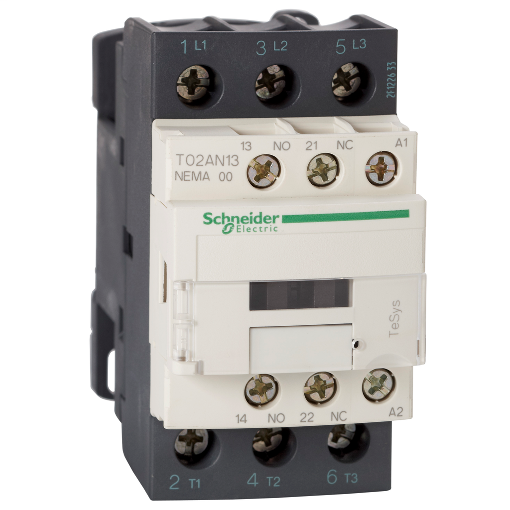 Mayer-NEMA Contactor, TeSys N, nonreversing, Size 00, 9A, 2HP at 460VAC, 3 pole, 3 phase, 24VAC 50/60Hz coil, open-1