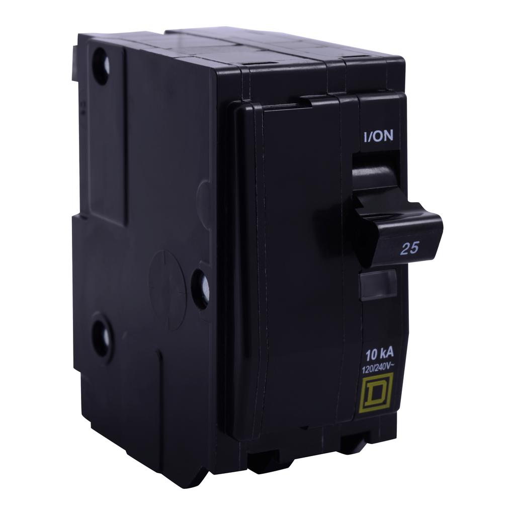 Mayer-Mini circuit breaker, QO, 20A, 2 pole, 120/240VAC, 10kA, plug in mount, ring terminals-1