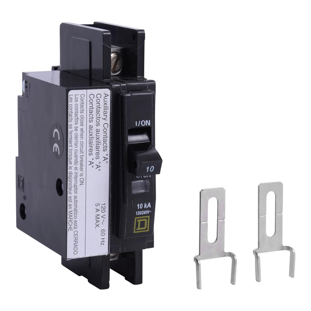 Mayer-Mini circuit breaker, QOU, 10A, 1 pole, 120/240 VAC, 10kA, auxiliary switch-1