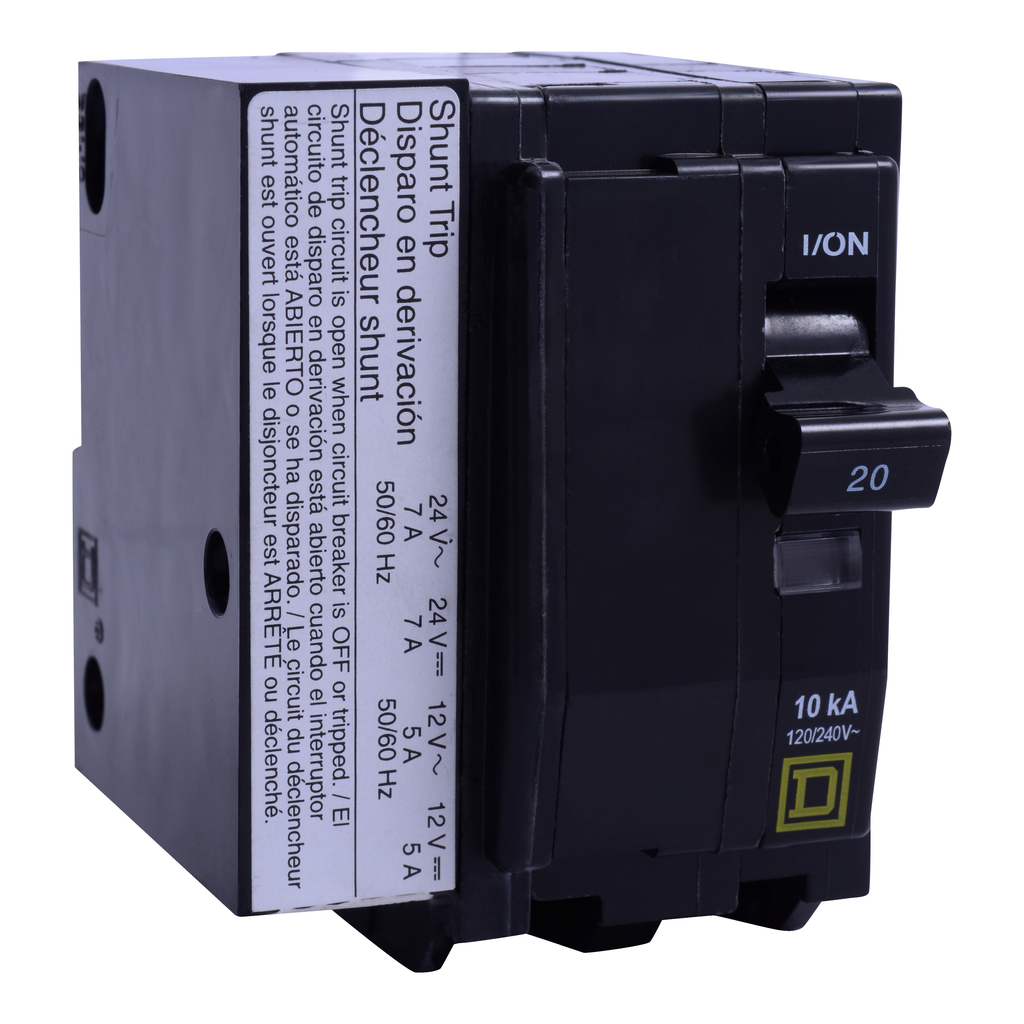 Mayer-Mini circuit breaker, QO, 30A, 2 pole, 120/240 VAC, 10 kA, plug in mount, AC/DC shunt trip-1