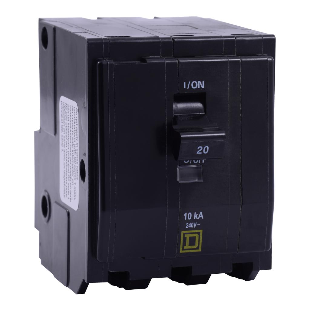 Mayer-Mini circuit breaker, QO, 20A, 3 pole, 120/240 VAC, 65 kA, plug in mount-1