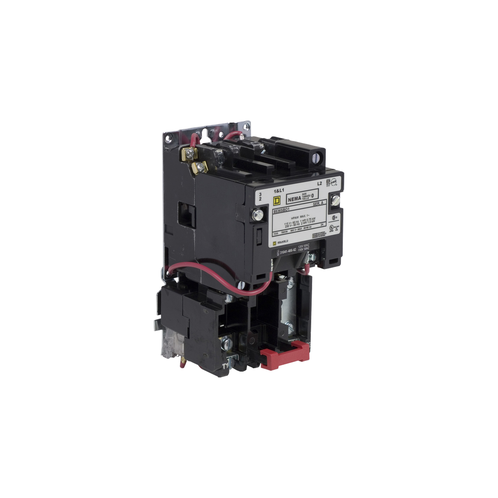 Mayer-NEMA Motor Starter, Type S, nonreversing, Size 0, 18A, 2 HP at 230 VAC, 5 kA SCCR, 1 phase, 2 pole, melting alloy, 120 VAC coil, open-1