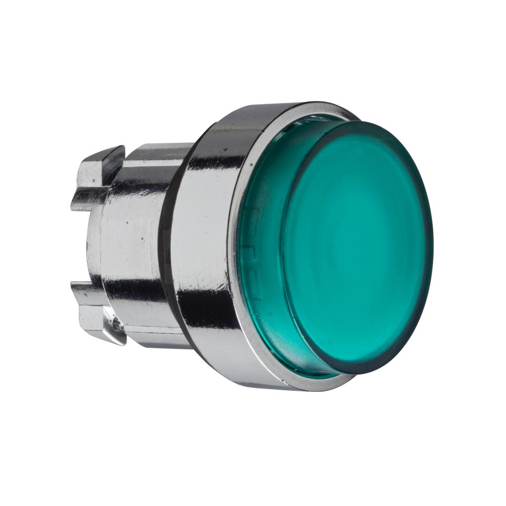 Mayer-Harmony XB4, Illuminated push button head, metal, projecting, green, Ø22, spring return, plain lens integral LED-1
