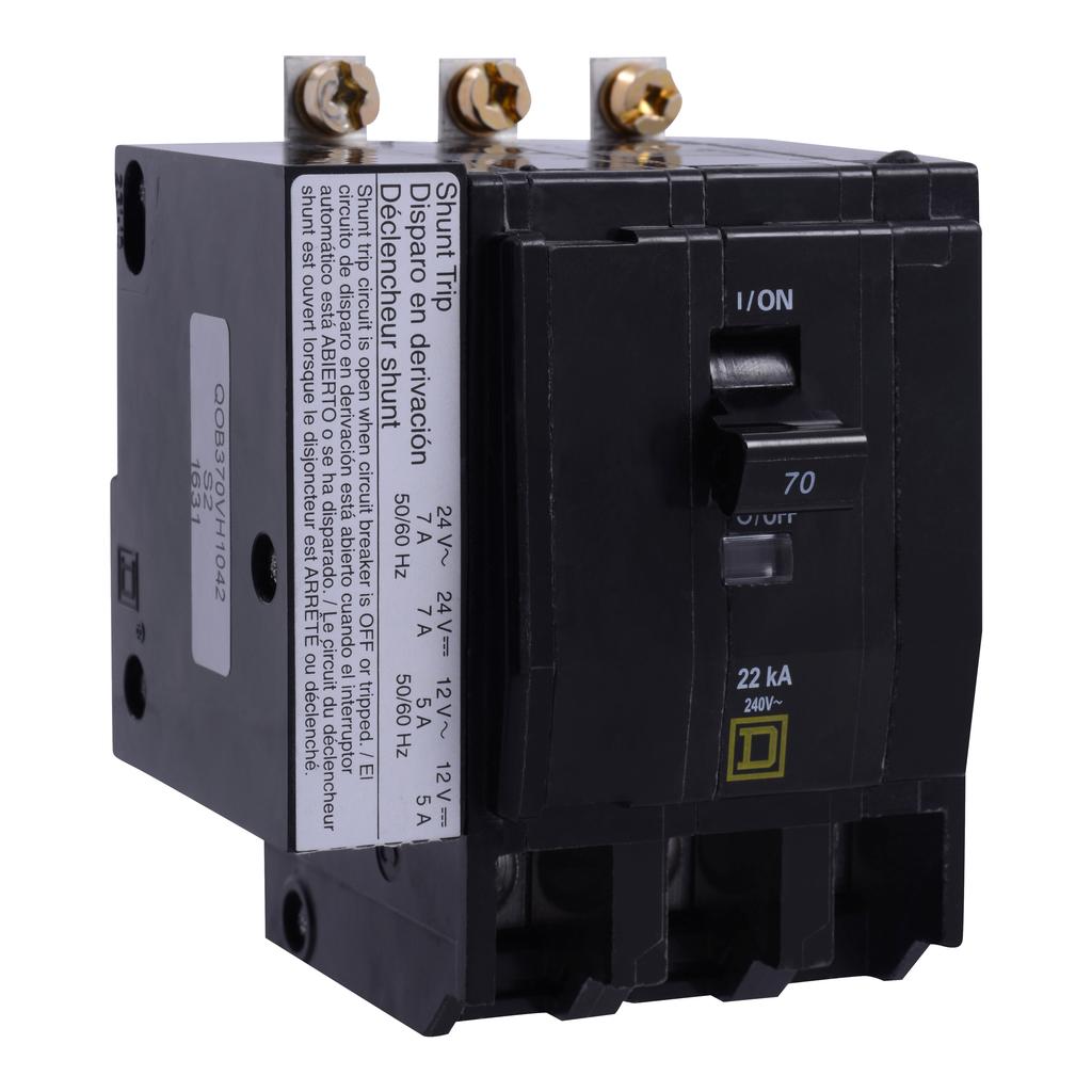 Mayer-Mini circuit breaker, QO, 40A, 3 pole, 120/240 VAC, 10 kA, bolt on mount, AC/DC shunt trip-1