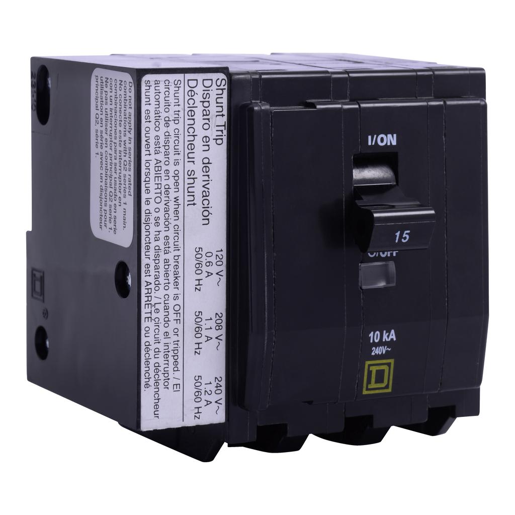 Mayer-Mini circuit breaker, QO, 25A, 3 pole, 120/240 VAC, 10 kA, bolt on mount, AC shunt trip-1