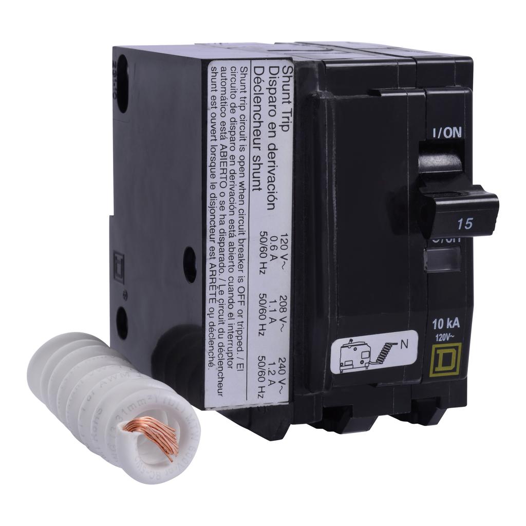 Mayer-Mini circuit breaker, QO, 30A, 2 pole, 120 VAC, 10 kA, switch neutral, plug in mount, AC shunt trip-1