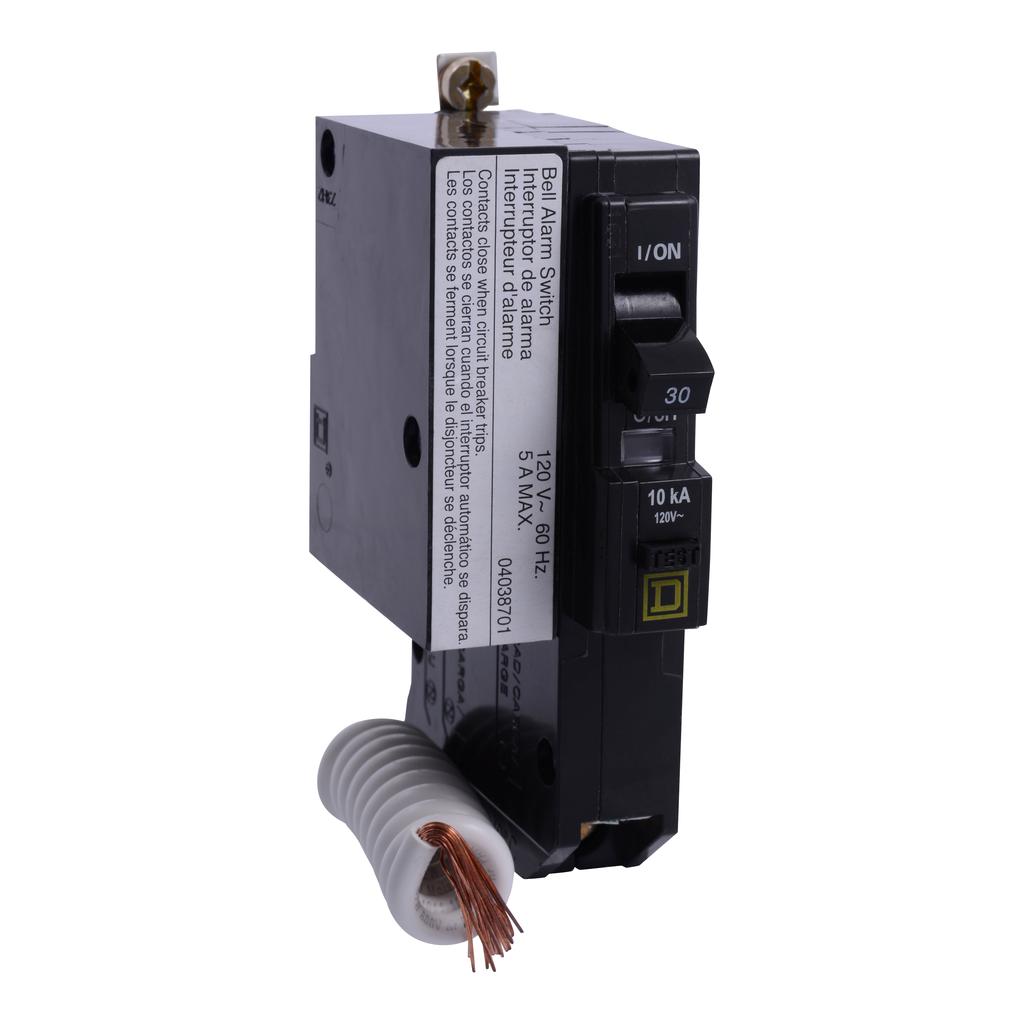 Mayer-Mini circuit breaker, QO, 30A, 1 pole, 120 VAC, 10 kA, 30mA grd fault B, bolt on mount, alarm switch-1