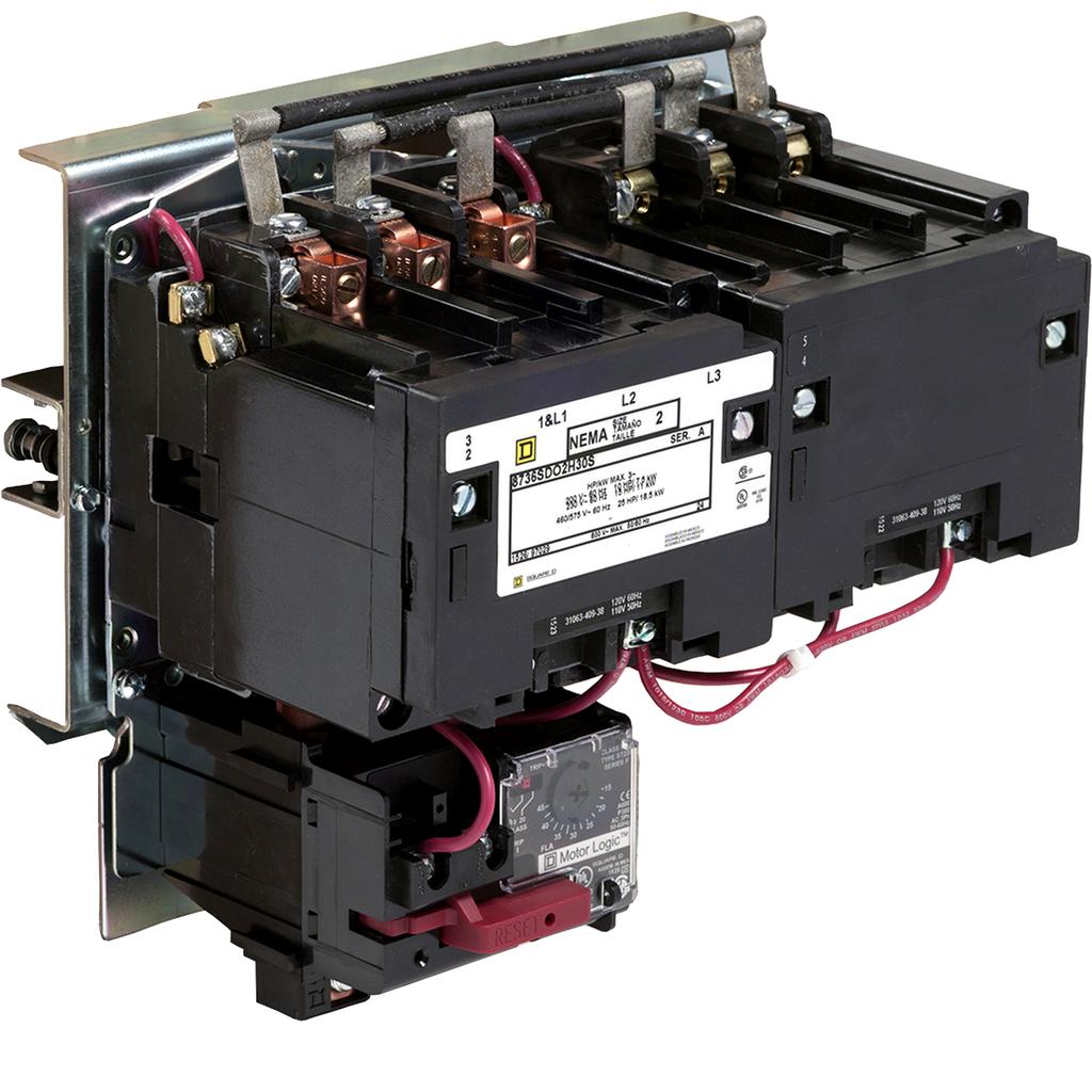 Mayer-NEMA Starter, Type S, reversing, horizontal, Size 2, 45A, 25 HP at 575 VAC, up to 100 kA SCCR, 3 phase, 3 pole, Motor Logic SSOLR, 120 VAC coil, open-1