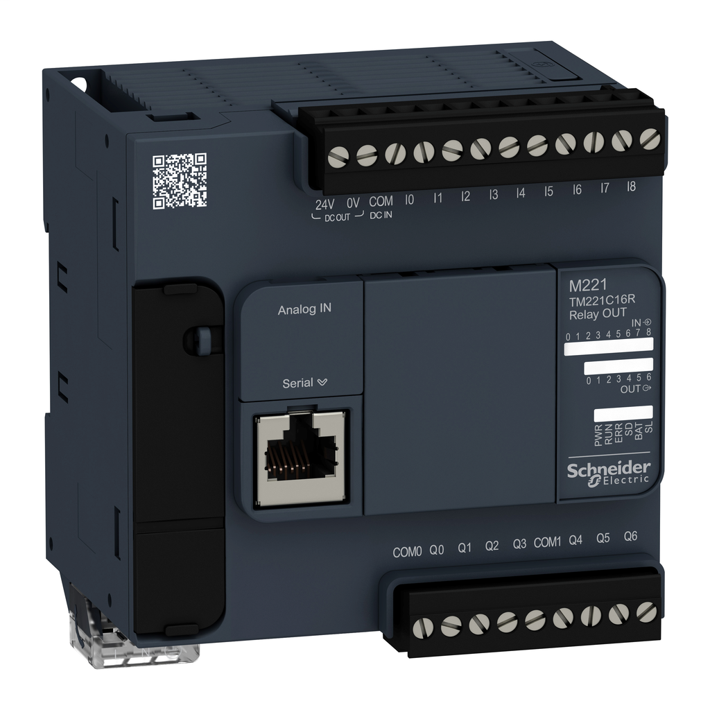 Mayer-Modicon M221, Logic controller, 16 inputs/outputs, 7 relay outputs, 100…240 V AC-1