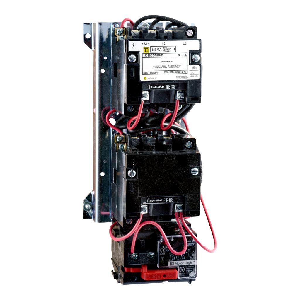 Mayer-NEMA Starter, Type S, reversing, vertical, Size 1, 27A, 10 HP at 575 VAC, up to 100 kA SCCR, 3 phase, 3 pole, Motor Logic SSOLR, 120 VAC coil, open-1