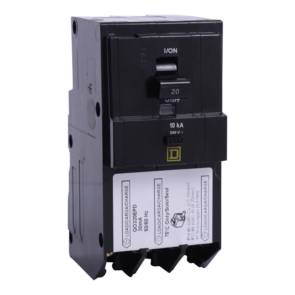 Mayer-Mini circuit breaker, QO, 20A, 3 pole, 240 VAC, 10 kA, 30mA grd fault B, plug in mount,-1
