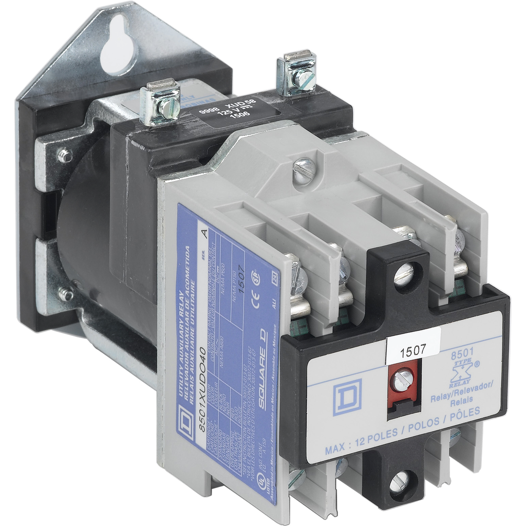 Mayer-NEMA Control Relay, Type X, utility, 10A resistive at 600 VAC, 4 normally open contacts, 250 VDC coil-1