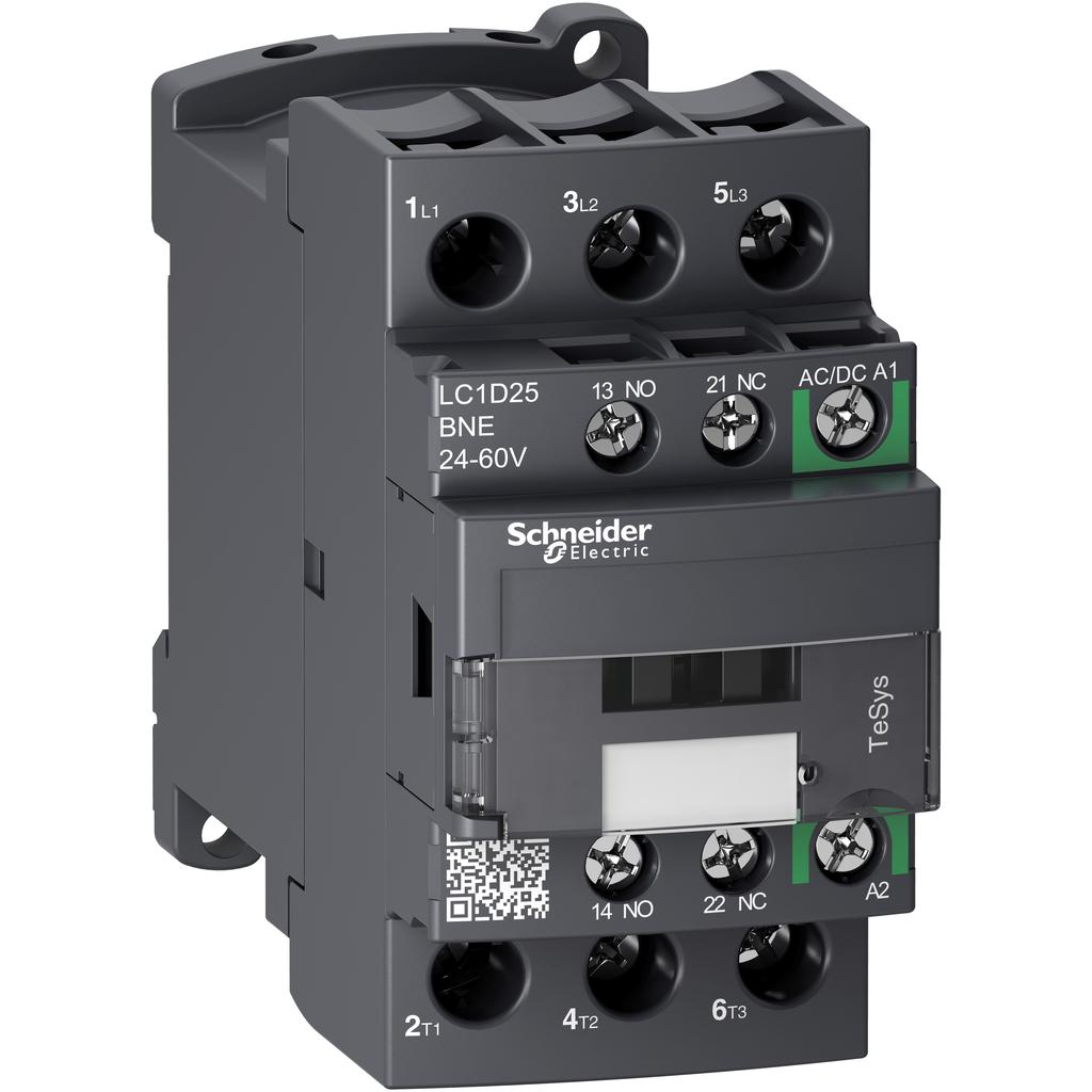 Mayer-IEC contactor, TeSys D Green, nonreversing, 25A, 15HP at 480VAC, up to 100kA SCCR, 3 phase, 3 NO, 24/60VAC/VDC coil-1