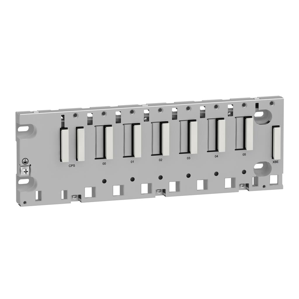 Mayer-Modicon M340 automation platform, rack 6 slots, panel, plate or DIN rail mounting-1