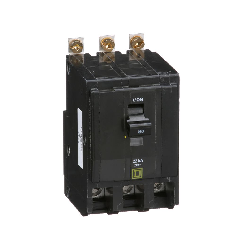 Mayer-Mini circuit breaker, QO, 80A, 3 pole, 120/240 VAC, 22 kA, bolt on mount-1