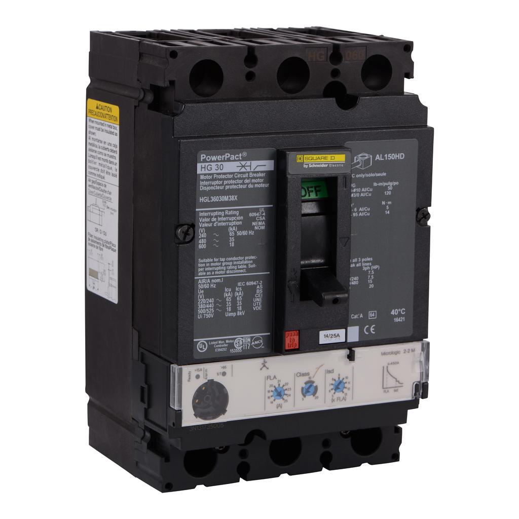 Mayer-Motor circuit protector, PowerPacT H, unit mount, 30A, 3 pole, 18 kA, 600 VAC, 80% rated-1