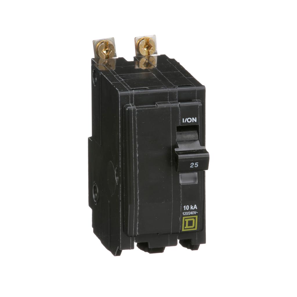 Mayer-Mini circuit breaker, QO, 25A, 2 pole, 120/240 VAC, 10 kA, bolt on mount-1