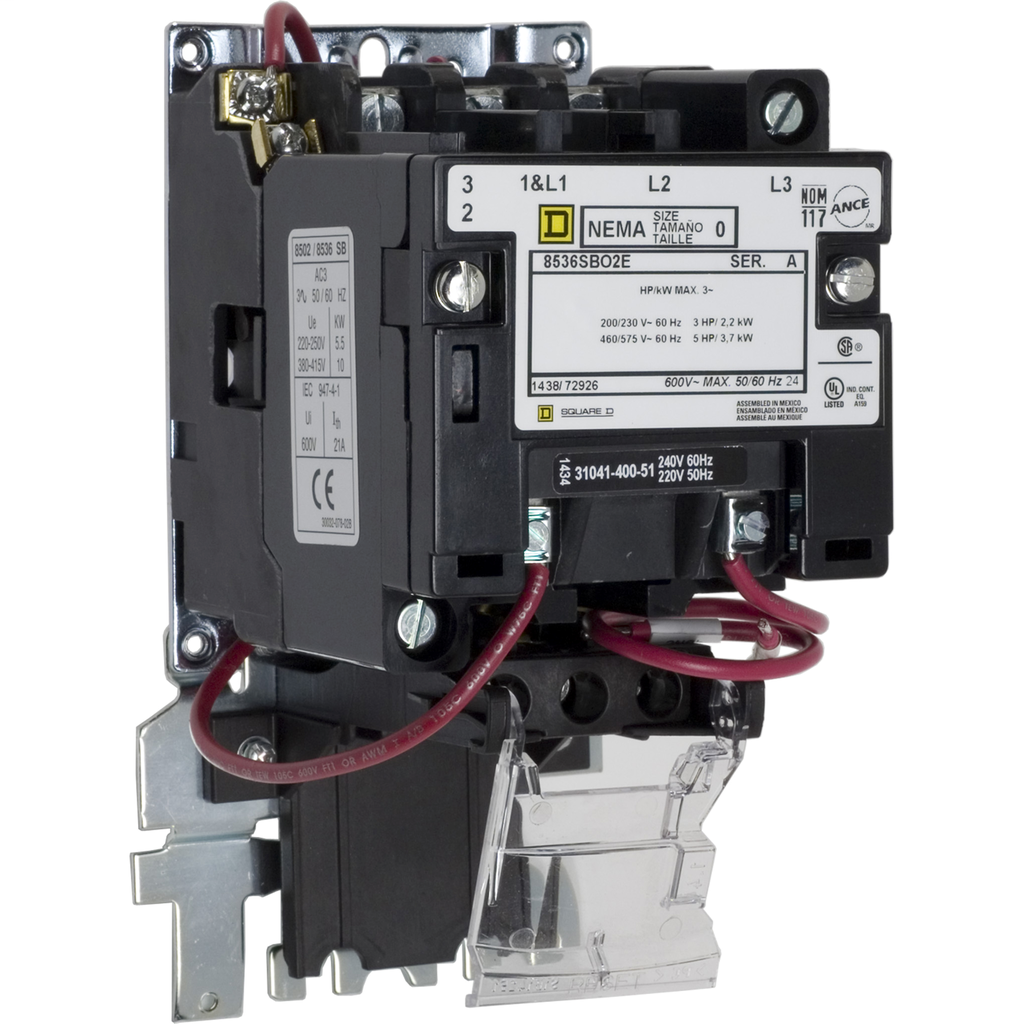 Mayer-NEMA Motor Starter, Type S, nonreversing, Size 0, 18A, 5 HP at 460 VAC, up to 65 kA SCCR, 3 phase, 3 pole, bimetal, 208 VAC coil, open-1
