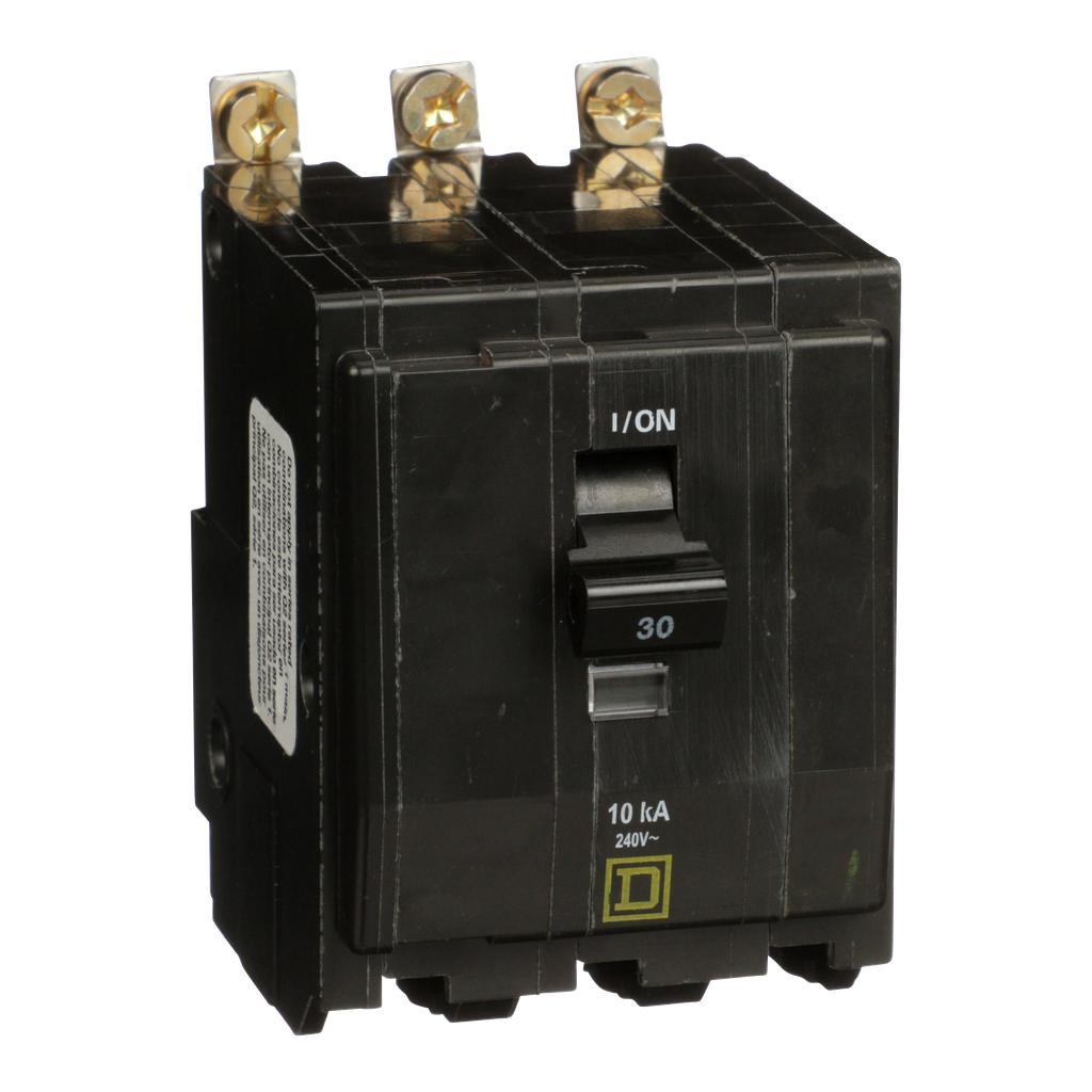 Mayer-Mini circuit breaker, QO, 30A, 3 pole, 120/240 VAC, 10 kA, bolt on mount, ring terminals-1
