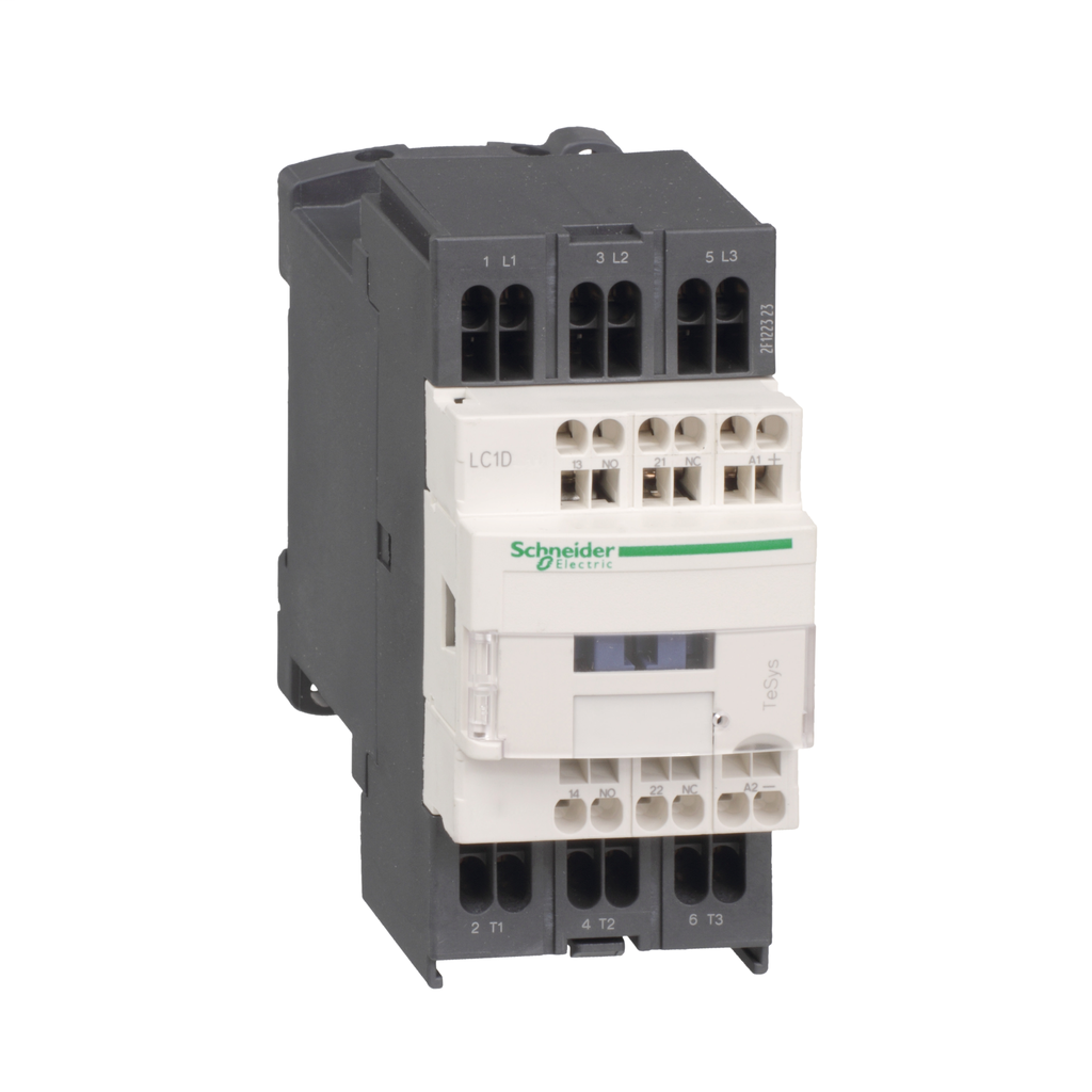 Mayer-IEC contactor, TeSys D, nonreversing, 9A, 5HP at 480VAC, 3 phase, 3 pole, 3 NO, low consumption 24VDC coil, open style-1